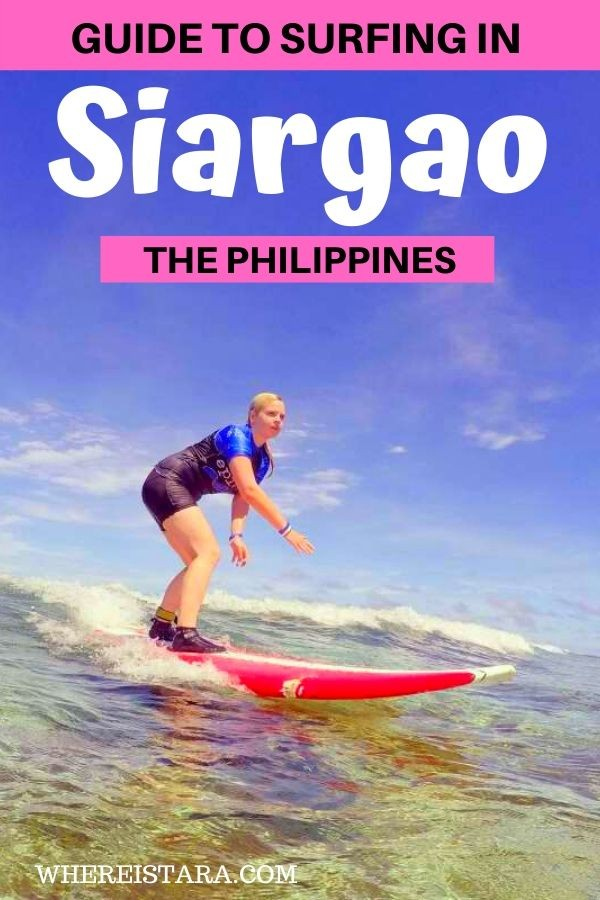 guide to surfing in siargao the philippines pin