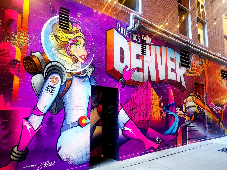 Greetings from Denver mural street art downtown Denver