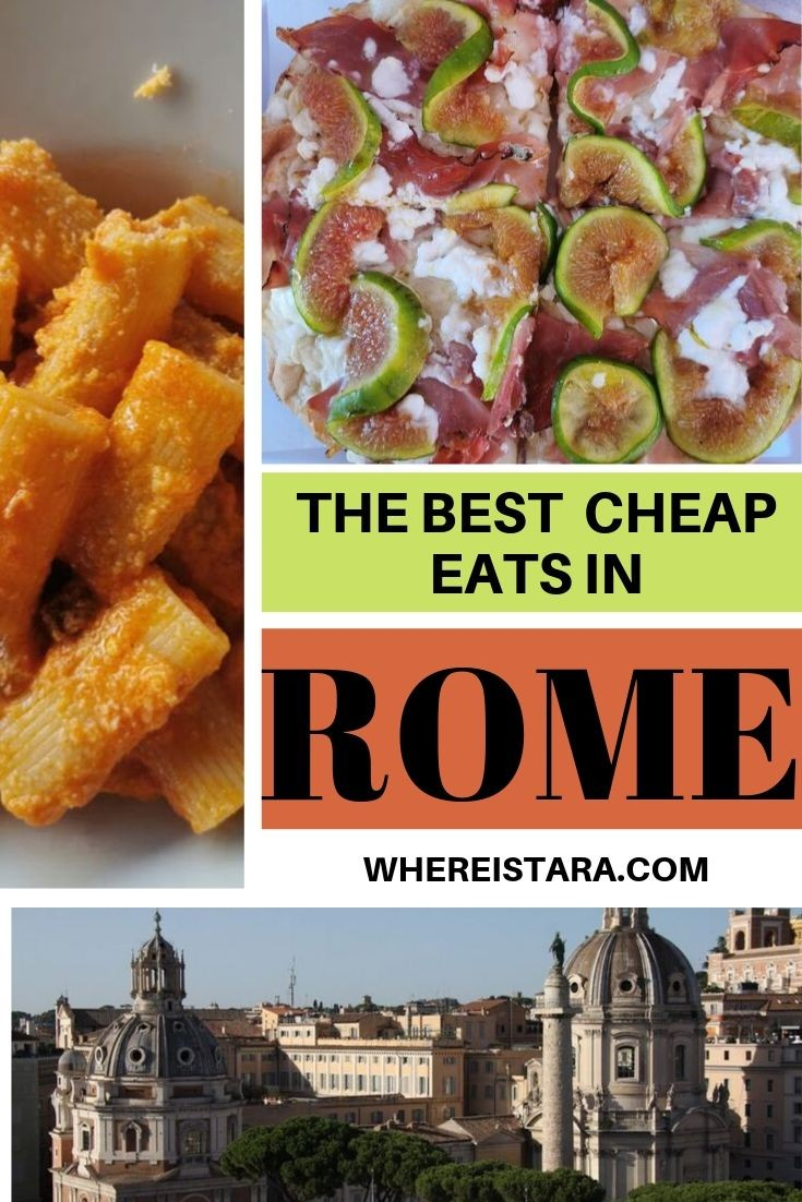 pinnable image best cheap places to eat in Rome budget friendly eats