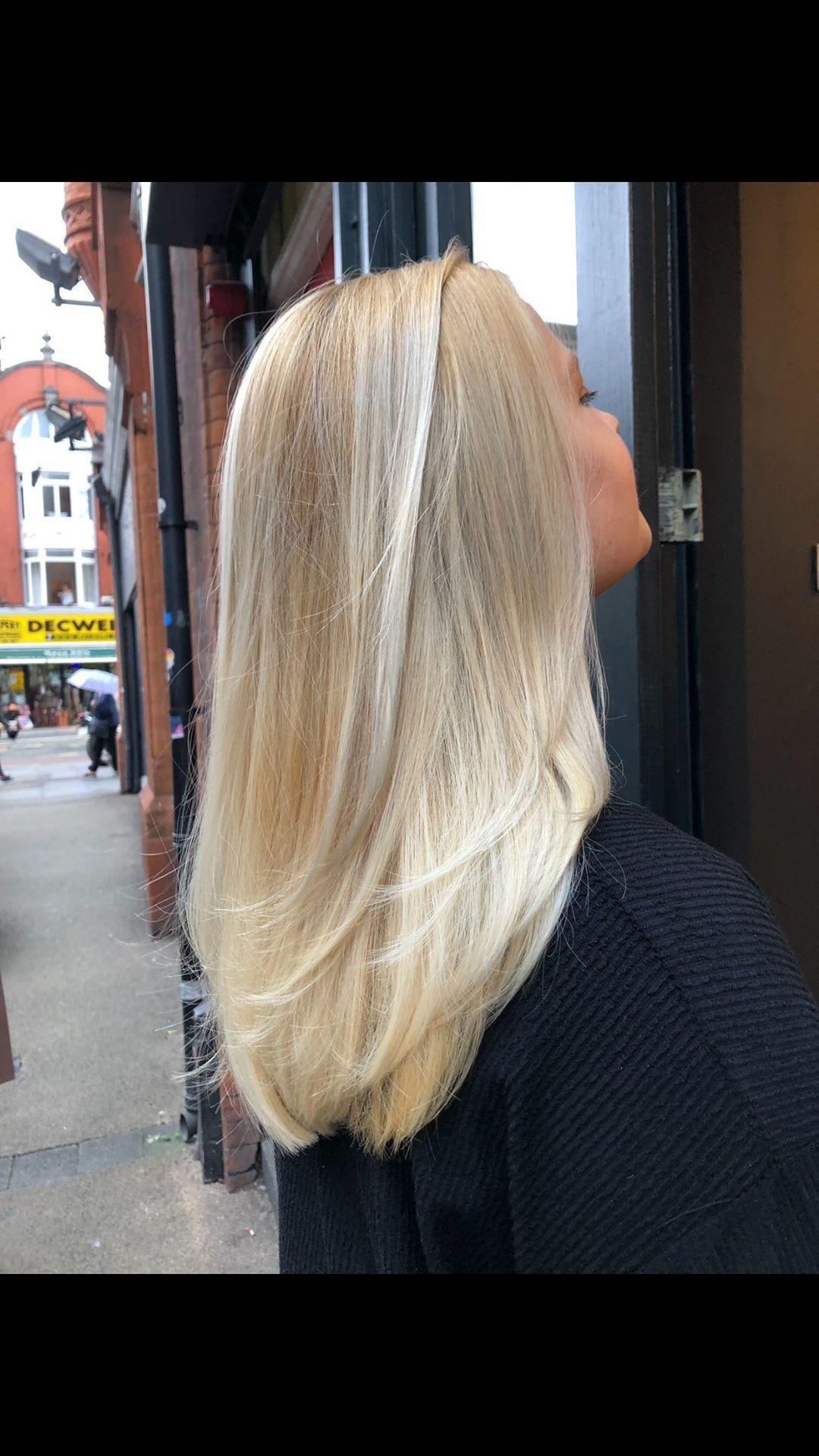 Blonde hair after first salon treatment