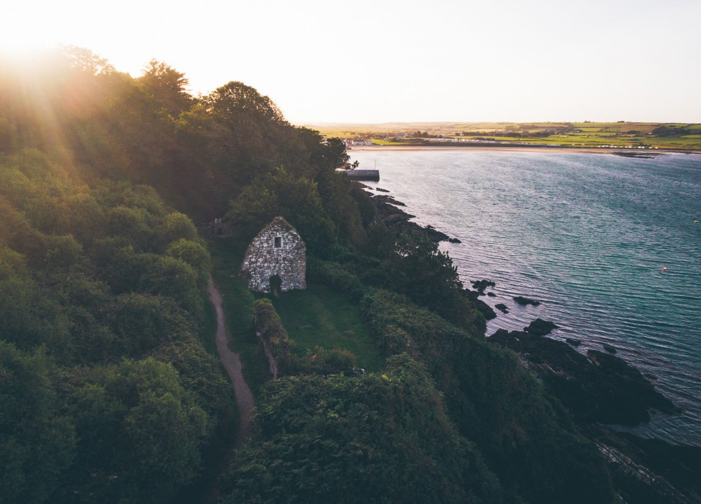 Stone ruins by the water in Ardmore, Waterford in Ireland